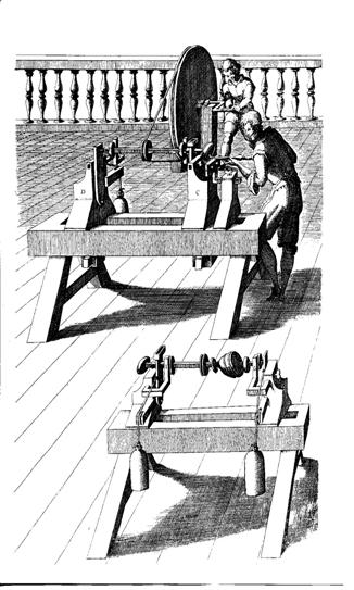 Lathe for Ovalturning by Salomon de Caus